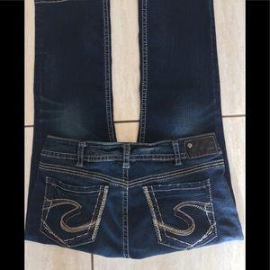 "Silver Suki mid Capri Jeans. waist 34"". GUC, comfy"